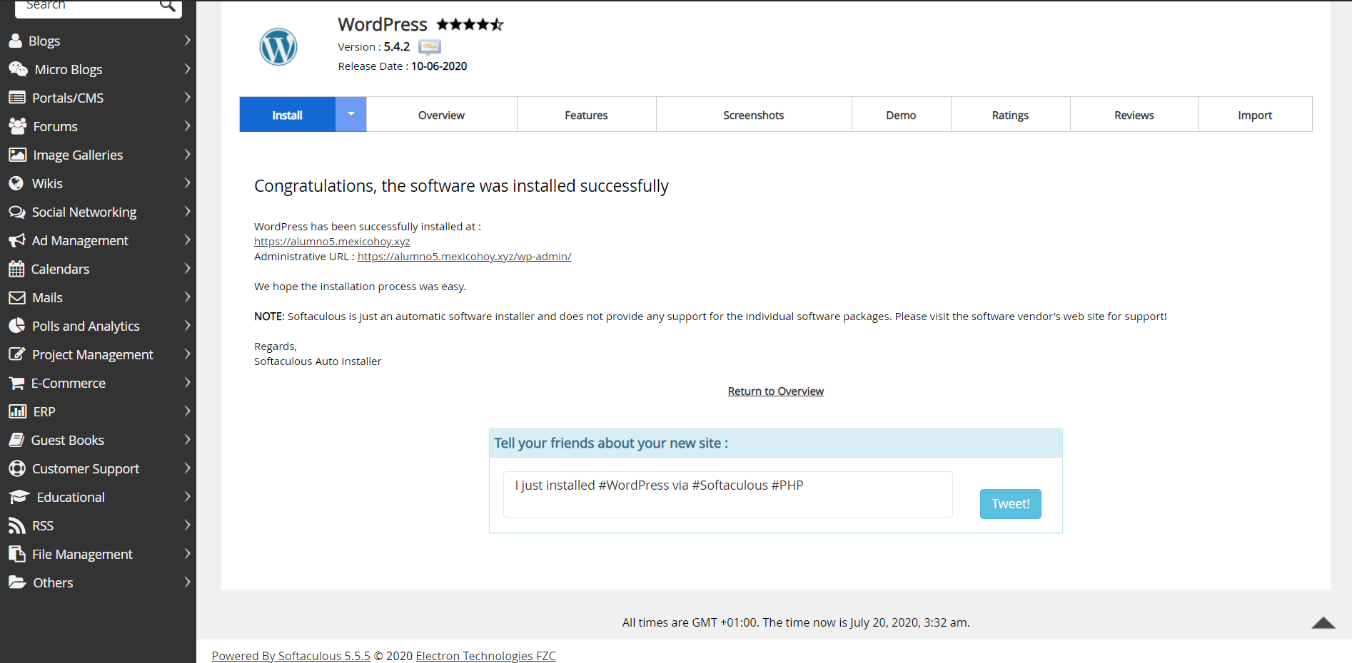 WordPress Instalado Exitosamente.