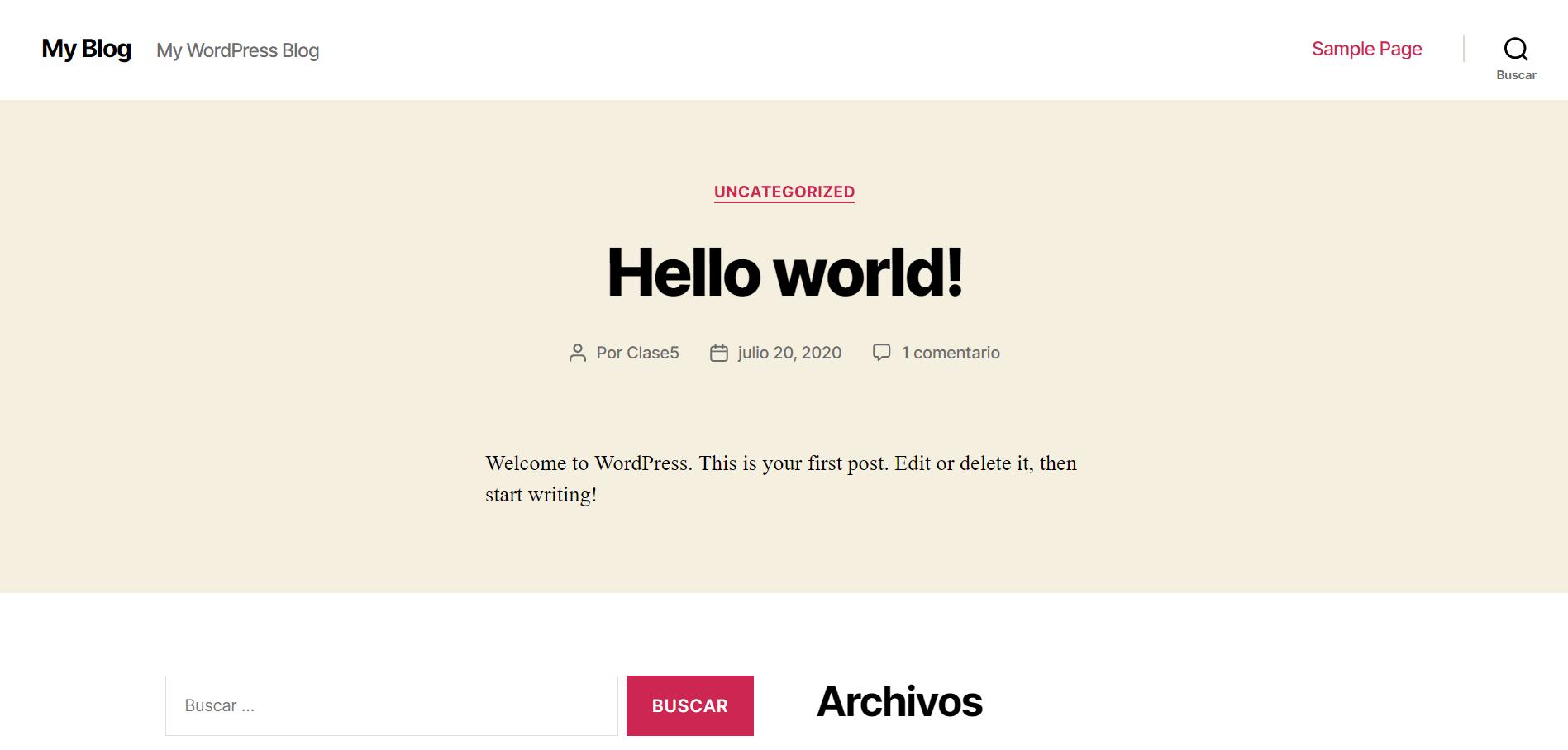 Página de Internet con WordPress