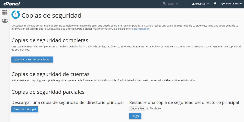 Hacer Copias de Seguridad y Clonar una Página Web desde hosting panel