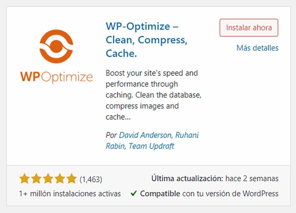 Limpiar WordPress WP Optimize Plugin