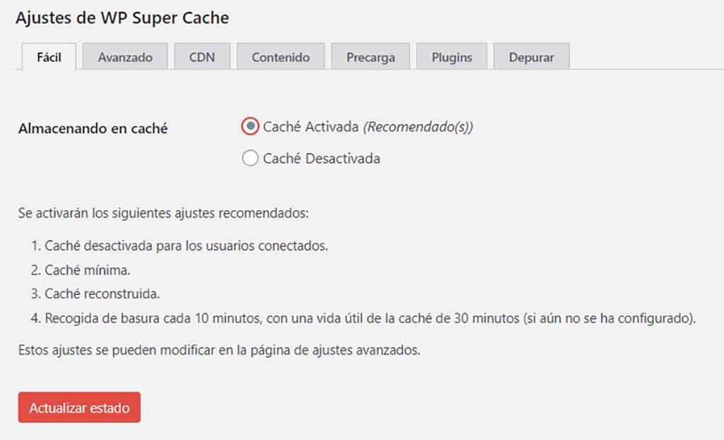 WP Super Cache Ajustes